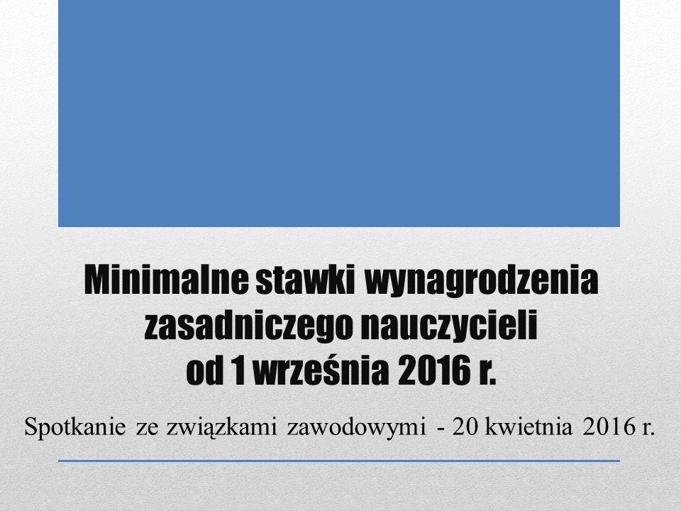 Minimalne stawki wynagrodzenia zasadniczego nauczycieli od 1 września 2016 r.