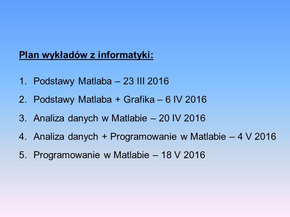 Plan wykładów z informatyki: 1.Podstawy Matlaba – 23 III 2016 2.Podstawy Matlaba + Grafika – 6 IV 2016 3.Analiza danych w Matlabie – 20 IV 2016 4.Analiza danych + Programowanie w Matlabie – 4 V 2016 5.Programowanie w Matlabie – 18 V 2016
