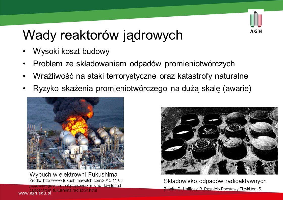 Wady reaktorów jądrowych Wysoki koszt budowy Problem ze składowaniem odpadów promieniotwórczych Wrażliwość na ataki terrorystyczne oraz katastrofy naturalne Ryzyko skażenia promieniotwórczego na dużą skalę (awarie) Wybuch w elektrowni Fukushima Źródło: http://www.fukushimawatch.com/2015-11-03- japanese-government-pays-worker-who-developed- cancer-from-fukushima-radiation.html Składowisko odpadów radioaktywnych Źródło: D.