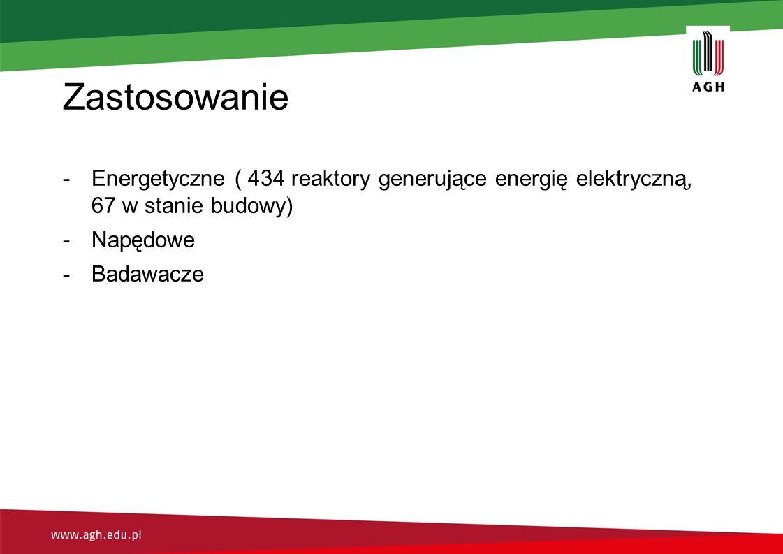 Zastosowanie -Energetyczne ( 434 reaktory generujące energię elektryczną, 67 w stanie budowy) -Napędowe -Badawacze