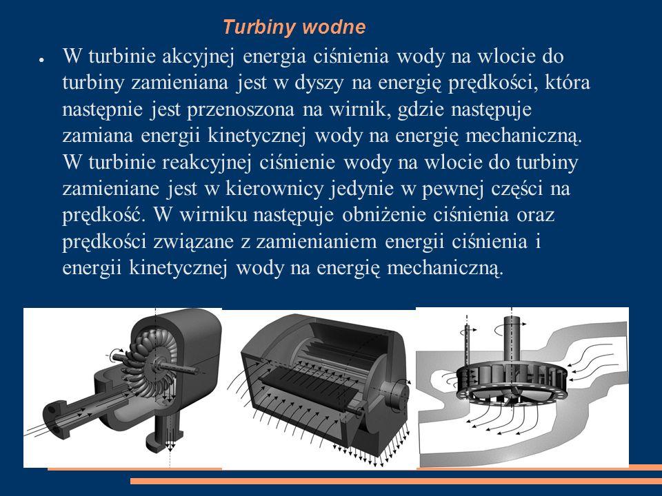Turbiny wodne ● W turbinie akcyjnej energia ciśnienia wody na wlocie do turbiny zamieniana jest w dyszy na energię prędkości, która następnie jest prz