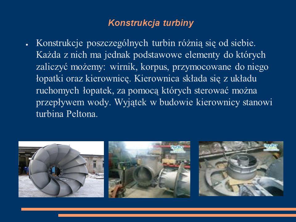 Konstrukcja turbiny ● Konstrukcje poszczególnych turbin różnią się od siebie. Każda z nich ma jednak podstawowe elementy do których zaliczyć możemy: w