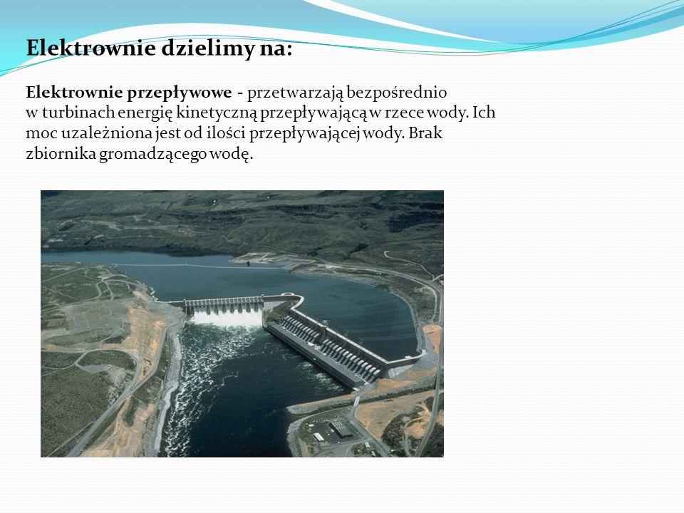 Elektrownie dzielimy na: Elektrownie przepływowe - przetwarzają bezpośrednio w turbinach energię kinetyczną przepływającą w rzece wody. Ich moc uzależ