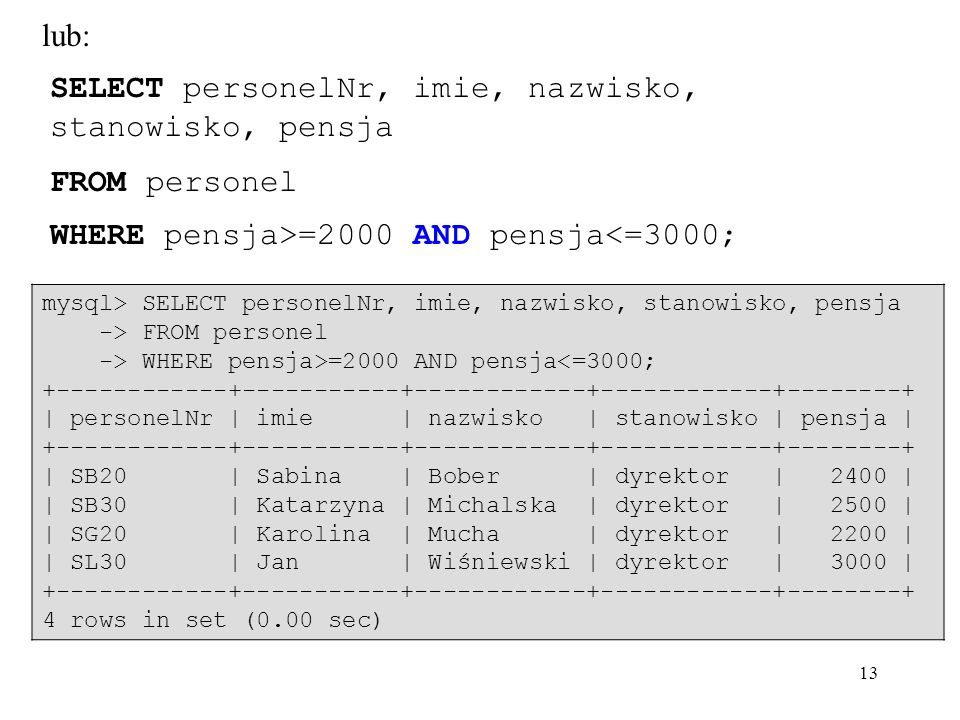 13 SELECT personelNr, imie, nazwisko, stanowisko, pensja FROM personel WHERE pensja>=2000 AND pensja<=3000; lub: mysql> SELECT personelNr, imie, nazwisko, stanowisko, pensja -> FROM personel -> WHERE pensja>=2000 AND pensja<=3000; +------------+-----------+------------+------------+--------+ | personelNr | imie | nazwisko | stanowisko | pensja | +------------+-----------+------------+------------+--------+ | SB20 | Sabina | Bober | dyrektor | 2400 | | SB30 | Katarzyna | Michalska | dyrektor | 2500 | | SG20 | Karolina | Mucha | dyrektor | 2200 | | SL30 | Jan | Wiśniewski | dyrektor | 3000 | +------------+-----------+------------+------------+--------+ 4 rows in set (0.00 sec)