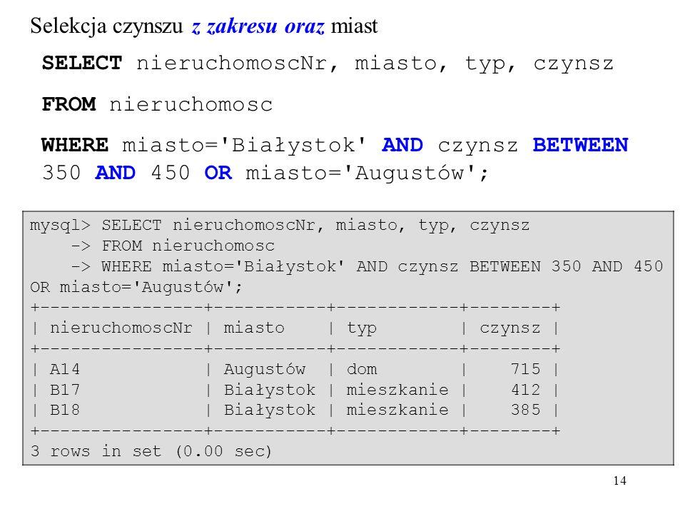 14 SELECT nieruchomoscNr, miasto, typ, czynsz FROM nieruchomosc WHERE miasto= Białystok AND czynsz BETWEEN 350 AND 450 OR miasto= Augustów ; mysql> SELECT nieruchomoscNr, miasto, typ, czynsz -> FROM nieruchomosc -> WHERE miasto= Białystok AND czynsz BETWEEN 350 AND 450 OR miasto= Augustów ; +----------------+-----------+------------+--------+ | nieruchomoscNr | miasto | typ | czynsz | +----------------+-----------+------------+--------+ | A14 | Augustów | dom | 715 | | B17 | Białystok | mieszkanie | 412 | | B18 | Białystok | mieszkanie | 385 | +----------------+-----------+------------+--------+ 3 rows in set (0.00 sec) Selekcja czynszu z zakresu oraz miast