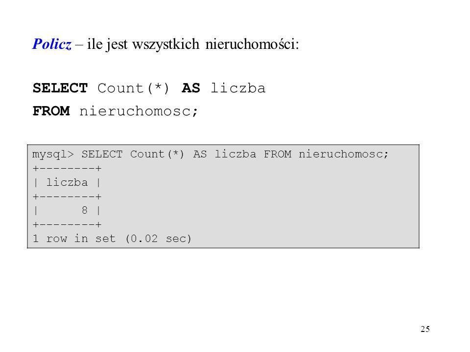 25 Policz – ile jest wszystkich nieruchomości: SELECT Count(*) AS liczba FROM nieruchomosc; mysql> SELECT Count(*) AS liczba FROM nieruchomosc; +--------+ | liczba | +--------+ | 8 | +--------+ 1 row in set (0.02 sec)