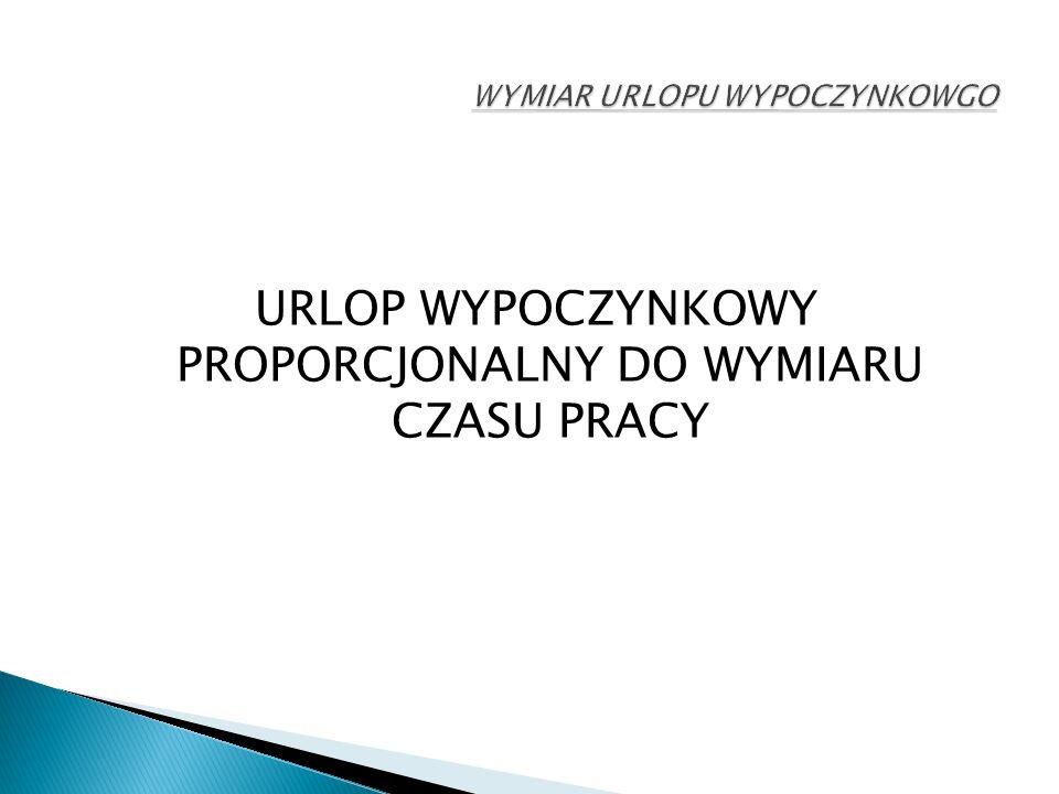 URLOP WYPOCZYNKOWY PROPORCJONALNY DO WYMIARU CZASU PRACY