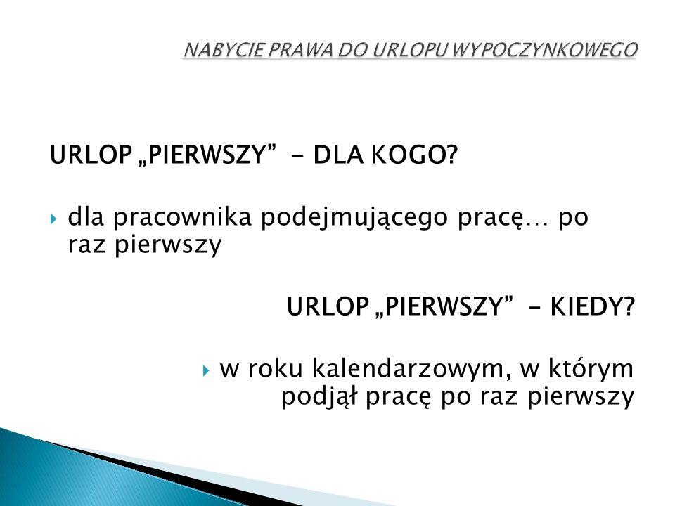 """URLOP """"PIERWSZY - DLA KOGO."""