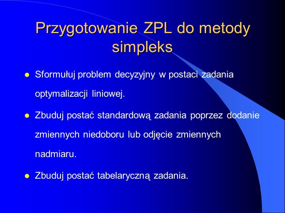 Przygotowanie ZPL do metody simpleks l Sformułuj problem decyzyjny w postaci zadania optymalizacji liniowej.