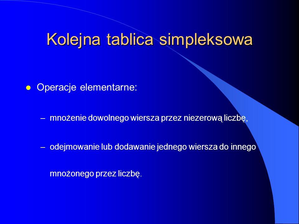 Kolejna tablica simpleksowa l Operacje elementarne: –mnożenie dowolnego wiersza przez niezerową liczbę, –odejmowanie lub dodawanie jednego wiersza do innego mnożonego przez liczbę.