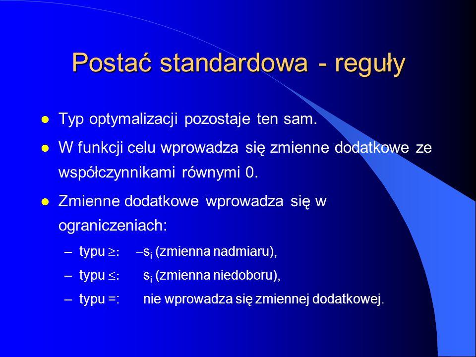 Postać standardowa - reguły l Typ optymalizacji pozostaje ten sam.