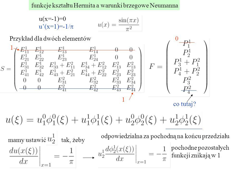 funkcje kształtu Hermita a warunki brzegowe Neumanna u(x=-1)=0 u'(x=1)=-1/  Przykład dla dwóch elementów 1 1 0 co tutaj? odpowiedzialna za pochodną n