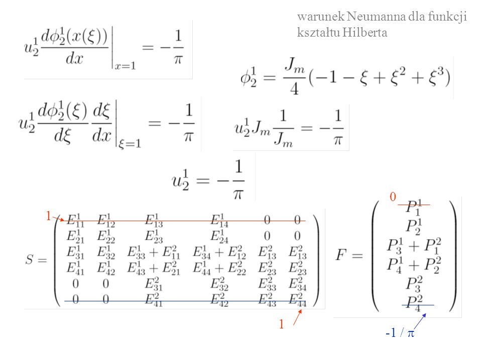 1 1 0 -1 /  warunek Neumanna dla funkcji kształtu Hilberta