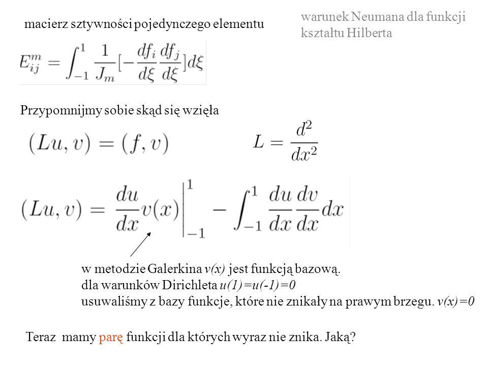 macierz sztywności pojedynczego elementu Przypomnijmy sobie skąd się wzięła w metodzie Galerkina v(x) jest funkcją bazową. dla warunków Dirichleta u(1