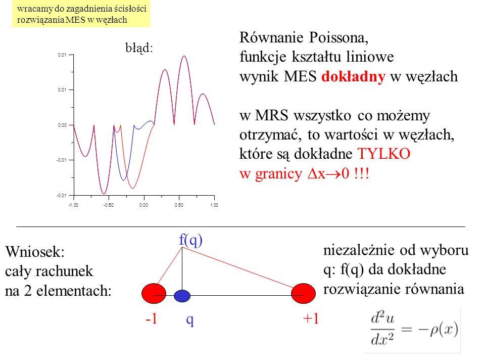 Równanie Poissona, funkcje kształtu liniowe wynik MES dokładny w węzłach w MRS wszystko co możemy otrzymać, to wartości w węzłach, które są dokładne TYLKO w granicy  x  0 !!.