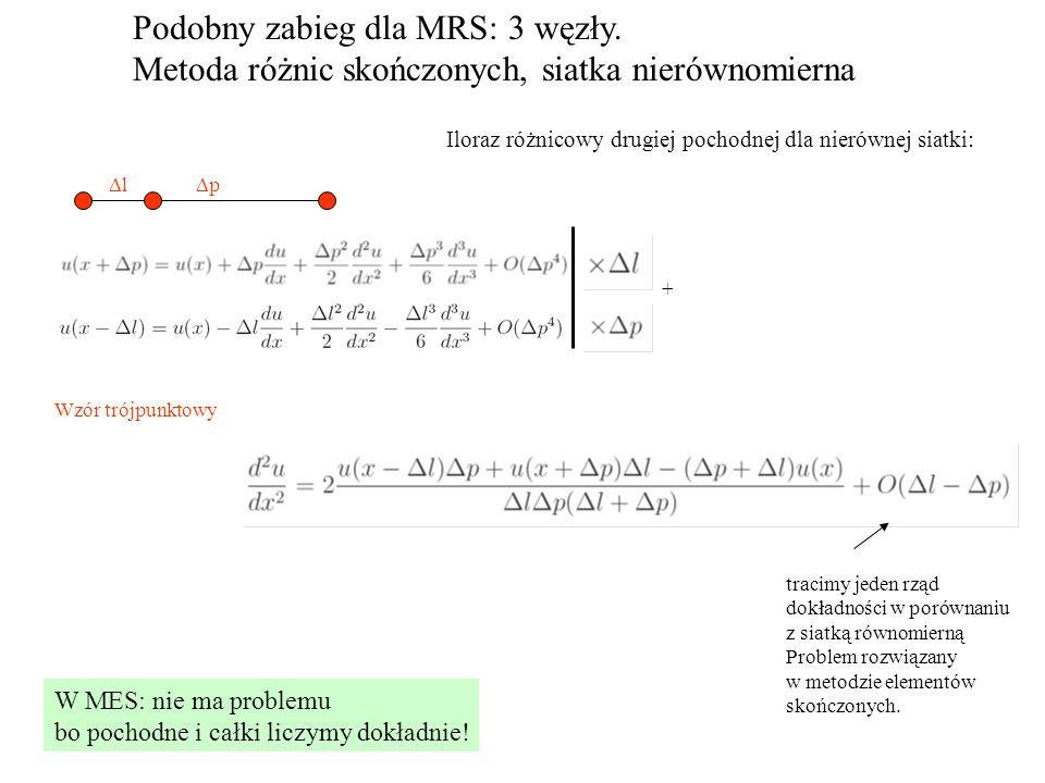 Podobny zabieg dla MRS: 3 węzły. Metoda różnic skończonych, siatka nierównomierna Iloraz różnicowy drugiej pochodnej dla nierównej siatki: ll pp +