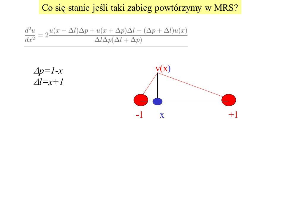 p=1-x  l=x+1 +1x v(x) Co się stanie jeśli taki zabieg powtórzymy w MRS