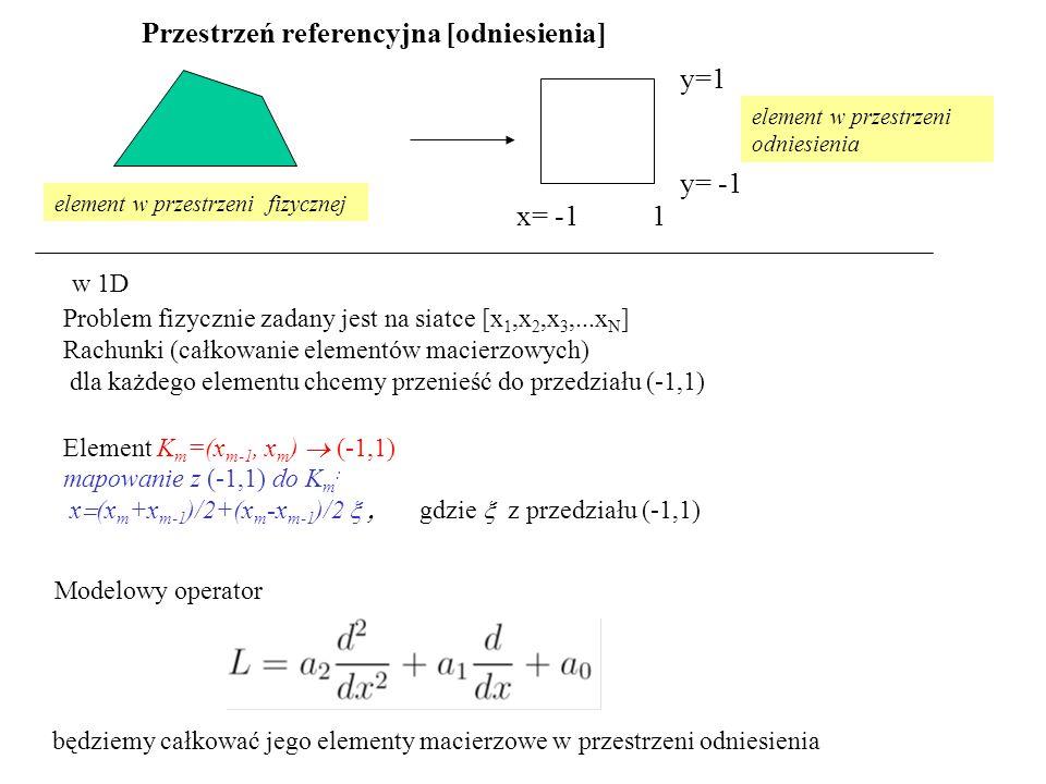 Przestrzeń referencyjna [odniesienia] Problem fizycznie zadany jest na siatce [x 1,x 2,x 3,...x N ] Rachunki (całkowanie elementów macierzowych) dla każdego elementu chcemy przenieść do przedziału (-1,1) Element K m =(x m-1, x m )  (-1,1) mapowanie z (-1,1) do K m : x  (x m +x m-1 )/2+(x m -x m-1 )/2  gdzie  z przedziału (-1,1) Modelowy operator w 1D x= -1 1 y= -1 y=1 będziemy całkować jego elementy macierzowe w przestrzeni odniesienia element w przestrzeni fizycznej element w przestrzeni odniesienia