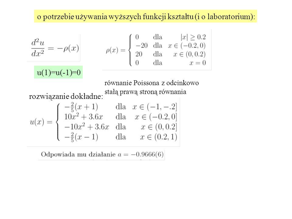 o potrzebie używania wyższych funkcji kształtu (i o laboratorium): u(1)=u(-1)=0 rozwiązanie dokładne: równanie Poissona z odcinkowo stałą prawą stroną równania