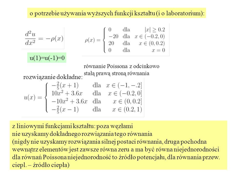z liniowymi funkcjami kształtu: poza węzłami nie uzyskamy dokładnego rozwiązania tego równania (nigdy nie uzyskamy rozwiązania silnej postaci równania, druga pochodna wewnątrz elementów jest zawsze równa zeru a ma być równa niejednorodności dla równań Poissona niejednorodność to źródło potencjału, dla równania przew.