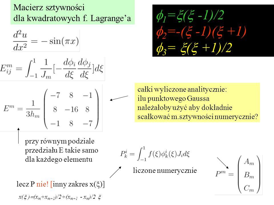  1 =  (  -1)/2  2 =-(  -1)(  +1)  3 =  (  +1)/2 liczone numerycznie całki wyliczone analitycznie: ilu punktowego Gaussa należałoby użyć aby dokładnie scałkować m.sztywności numerycznie.