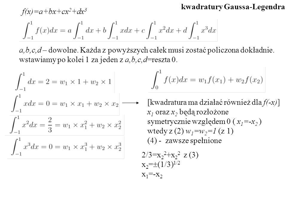 f(x)=a+bx+cx 2 +dx 3 a,b,c,d – dowolne. Każda z powyższych całek musi zostać policzona dokładnie. wstawiamy po kolei 1 za jeden z a,b,c,d=reszta 0. [k