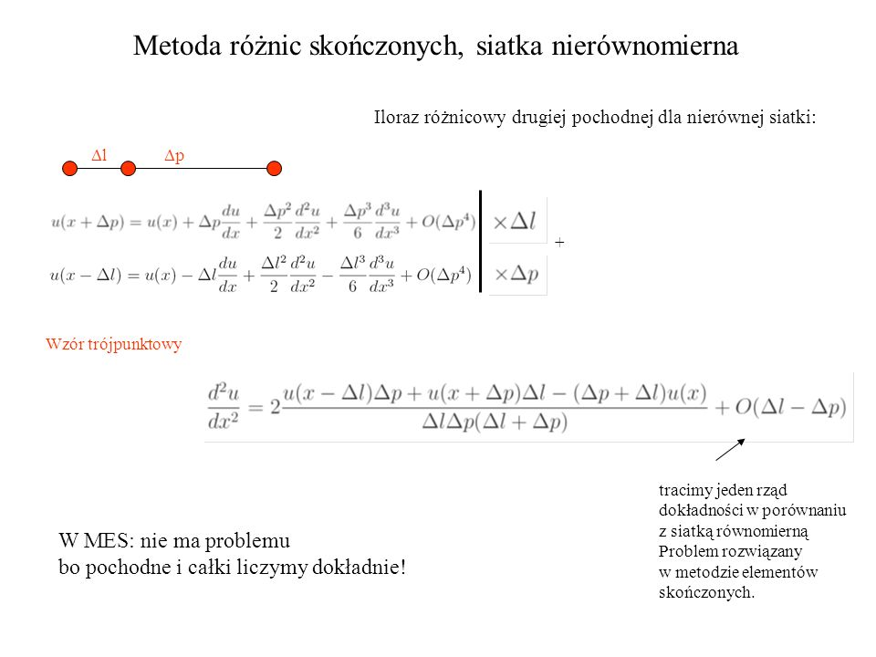 Metoda różnic skończonych, siatka nierównomierna Iloraz różnicowy drugiej pochodnej dla nierównej siatki: ll pp + tracimy jeden rząd dokładności w