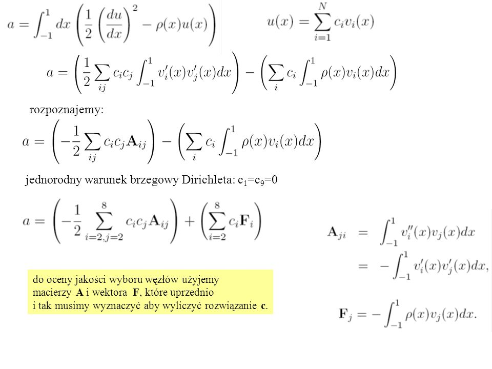 Funkcje kształtu wyższych rzędów: u1u1 u2u2 u4u4 funkcje kształtu jeden element, cztery (n) węzły u3u3     wielomian stopnia n-1, taki, że wiemy jak go wskazać: wielomian węzłowy Lagrange'a funkcje kształtu Lagrange'a: rozwiązanie interpolowane wielomianowo w każdym z elementów.