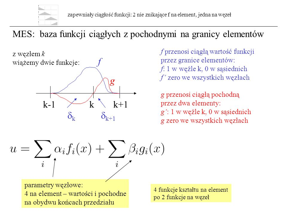 MES: baza funkcji ciągłych z pochodnymi na granicy elementów k-1 k k+1 kk  k+1 f g f przenosi ciągłą wartość funkcji przez granice elementów: f: 1 w węźle k, 0 w sąsiednich f' zero we wszystkich węzłach g przenosi ciągłą pochodną przez dwa elementy: g': 1 w węźle k, 0 w sąsiednich g zero we wszystkich węzłach parametry węzłowe: 4 na element – wartości i pochodne na obydwu końcach przedziału zapewniały ciągłość funkcji: 2 nie znikające f na element, jedna na węzeł 4 funkcje kształtu na element po 2 funkcje na węzeł z węzłem k wiążemy dwie funkcje: