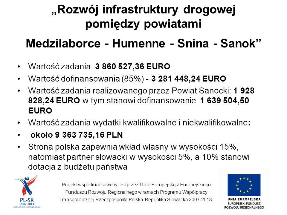 """""""Rozwój infrastruktury drogowej pomiędzy powiatami Medzilaborce - Humenne - Snina - Sanok Wartość zadania: 3 860 527,36 EURO Wartość dofinansowania (85%) - 3 281 448,24 EURO Wartość zadania realizowanego przez Powiat Sanocki: 1 928 828,24 EURO w tym stanowi dofinansowanie 1 639 504,50 EURO Wartość zadania wydatki kwalifikowalne i niekwalifikowalne: około 9 363 735,16 PLN Strona polska zapewnia wkład własny w wysokości 15%, natomiast partner słowacki w wysokości 5%, a 10% stanowi dotacja z budżetu państwa Projekt współfinansowany jest przez Unię Europejską z Europejskiego Funduszu Rozwoju Regionalnego w ramach Programu Współpracy Transgranicznej Rzeczpospolita Polska-Republika Słowacka 2007-2013."""