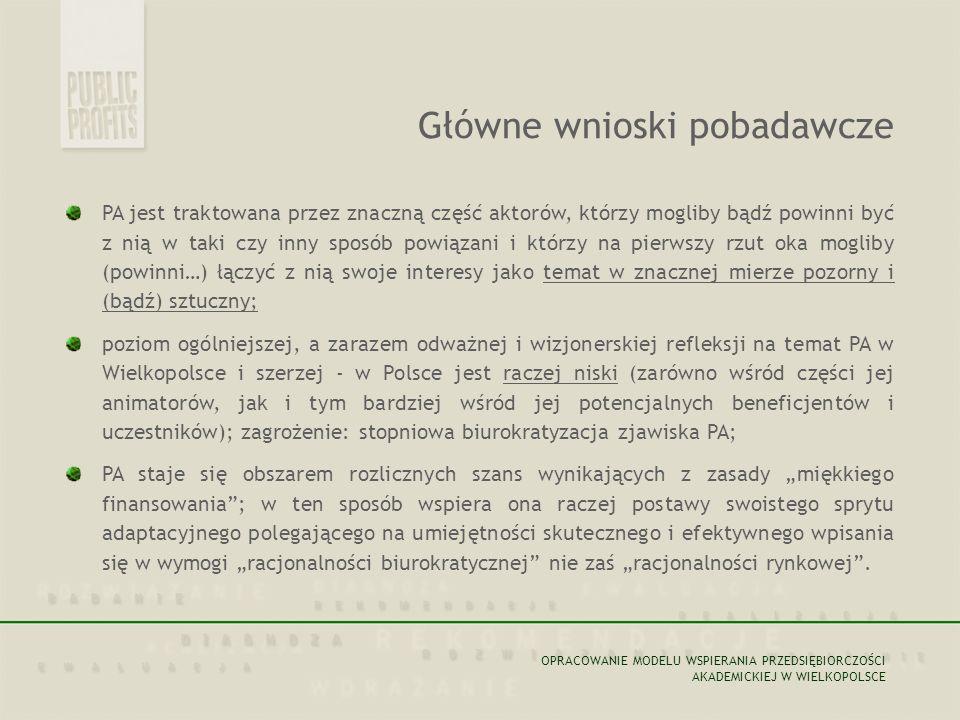 """PA jest traktowana przez znaczną część aktorów, którzy mogliby bądź powinni być z nią w taki czy inny sposób powiązani i którzy na pierwszy rzut oka mogliby (powinni…) łączyć z nią swoje interesy jako temat w znacznej mierze pozorny i (bądź) sztuczny; poziom ogólniejszej, a zarazem odważnej i wizjonerskiej refleksji na temat PA w Wielkopolsce i szerzej - w Polsce jest raczej niski (zarówno wśród części jej animatorów, jak i tym bardziej wśród jej potencjalnych beneficjentów i uczestników); zagrożenie: stopniowa biurokratyzacja zjawiska PA; PA staje się obszarem rozlicznych szans wynikających z zasady """"miękkiego finansowania ; w ten sposób wspiera ona raczej postawy swoistego sprytu adaptacyjnego polegającego na umiejętności skutecznego i efektywnego wpisania się w wymogi """"racjonalności biurokratycznej nie zaś """"racjonalności rynkowej ."""