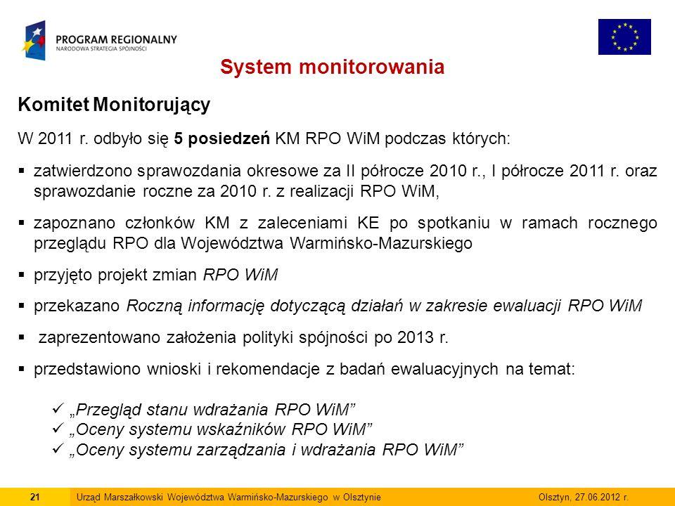 21Urząd Marszałkowski Województwa Warmińsko-Mazurskiego w Olsztynie Olsztyn, 27.06.2012 r. System monitorowania Komitet Monitorujący W 2011 r. odbyło