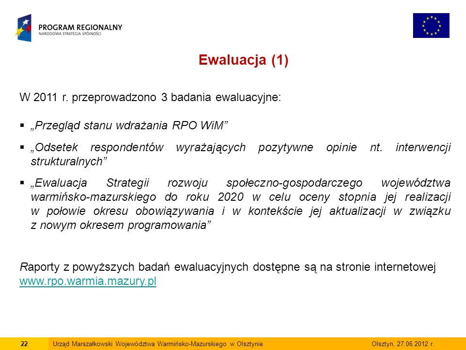 22Urząd Marszałkowski Województwa Warmińsko-Mazurskiego w Olsztynie Olsztyn, 27.06.2012 r. Ewaluacja (1) W 2011 r. przeprowadzono 3 badania ewaluacyjn