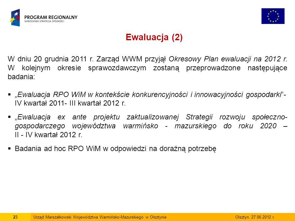 23Urząd Marszałkowski Województwa Warmińsko-Mazurskiego w Olsztynie Olsztyn, 27.06.2012 r. Ewaluacja (2) W dniu 20 grudnia 2011 r. Zarząd WWM przyjął