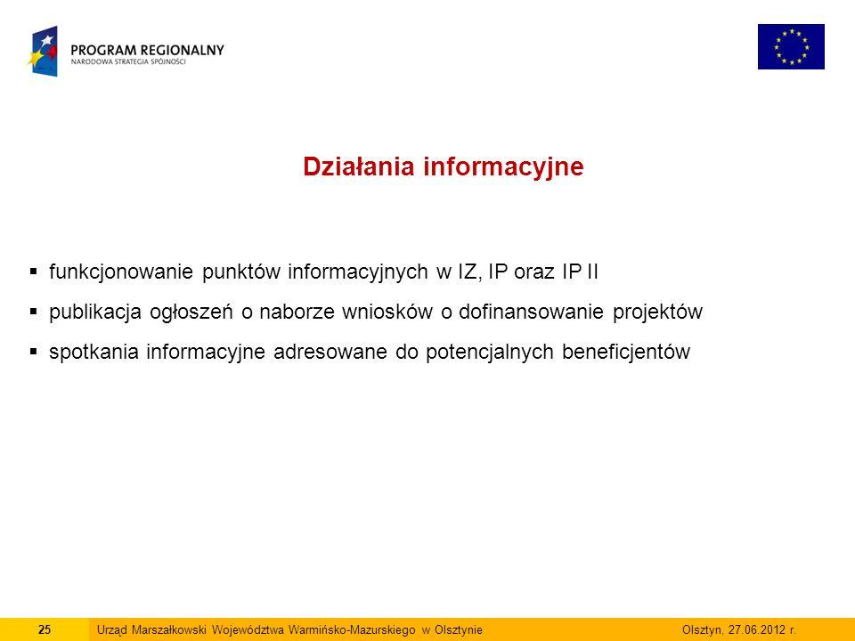 25Urząd Marszałkowski Województwa Warmińsko-Mazurskiego w Olsztynie Olsztyn, 27.06.2012 r.