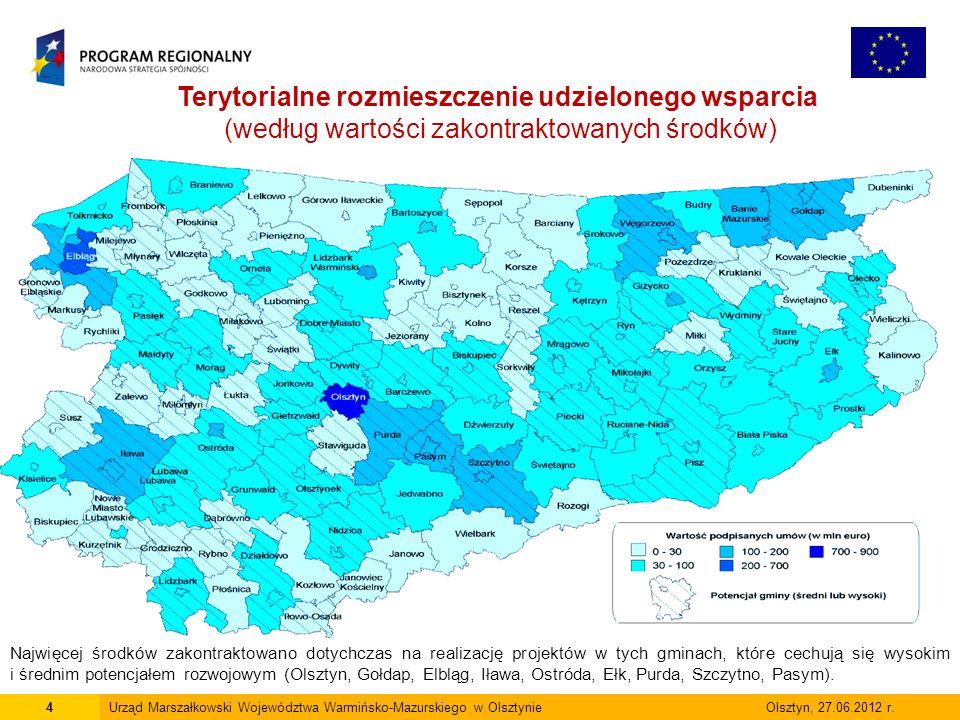 4Urząd Marszałkowski Województwa Warmińsko-Mazurskiego w Olsztynie Olsztyn, 27.06.2012 r. Terytorialne rozmieszczenie udzielonego wsparcia (według war