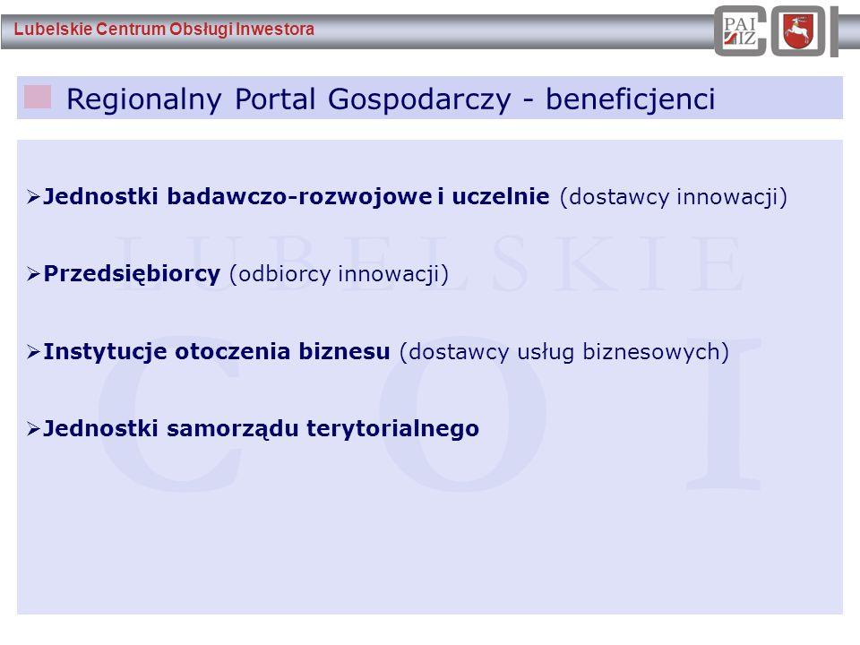 Lubelskie Centrum Obsługi Inwestora Regionalny Portal Gospodarczy - beneficjenci L U B E L S K I E C O I  Jednostki badawczo-rozwojowe i uczelnie (do