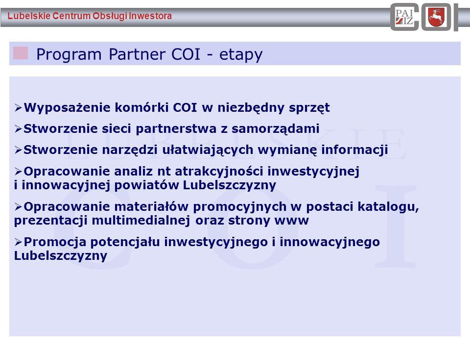 Lubelskie Centrum Obsługi Inwestora Program Partner COI - etapy L U B E L S K I E C O I  Wyposażenie komórki COI w niezbędny sprzęt  Stworzenie siec