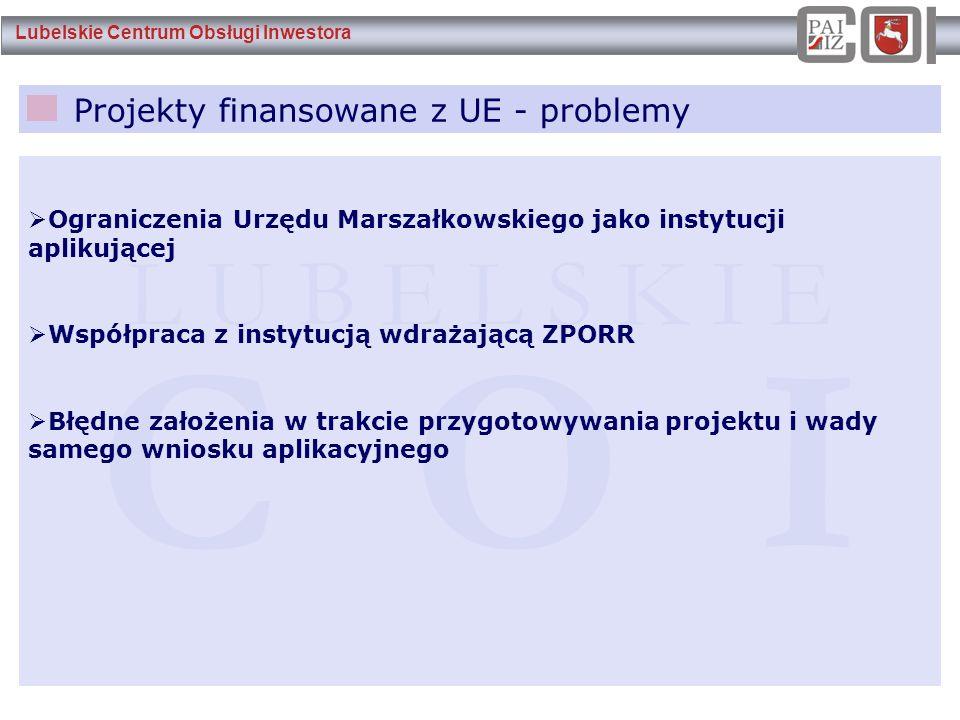 Lubelskie Centrum Obsługi Inwestora Projekty finansowane z UE - problemy L U B E L S K I E C O I  Ograniczenia Urzędu Marszałkowskiego jako instytucj