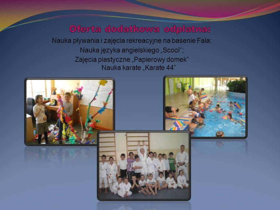 """Nauka pływania i zajęcia rekreacyjne na basenie Fala; Nauka języka angielskiego """"Scool ; Zajęcia plastyczne """"Papierowy domek Nauka karate """"Karate 44"""