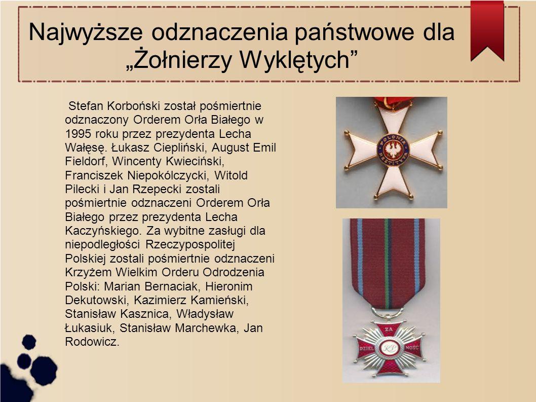 """Najwyższe odznaczenia państwowe dla """"Żołnierzy Wyklętych Stefan Korboński został pośmiertnie odznaczony Orderem Orła Białego w 1995 roku przez prezydenta Lecha Wałęsę."""