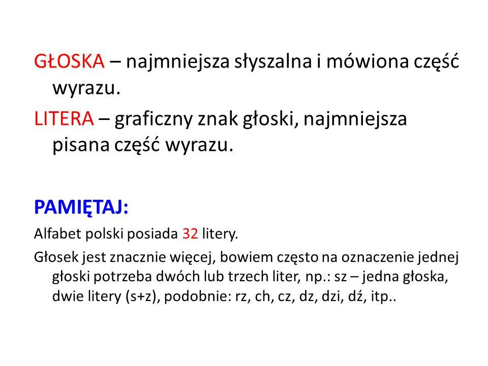 GŁOSKA – najmniejsza słyszalna i mówiona część wyrazu. LITERA – graficzny znak głoski, najmniejsza pisana część wyrazu. PAMIĘTAJ: Alfabet polski posia