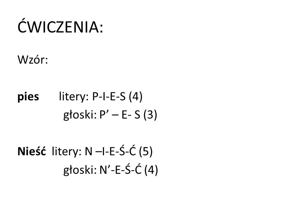 ĆWICZENIA: Wzór: pies litery: P-I-E-S (4) głoski: P' – E- S (3) Nieść litery: N –I-E-Ś-Ć (5) głoski: N'-E-Ś-Ć (4)