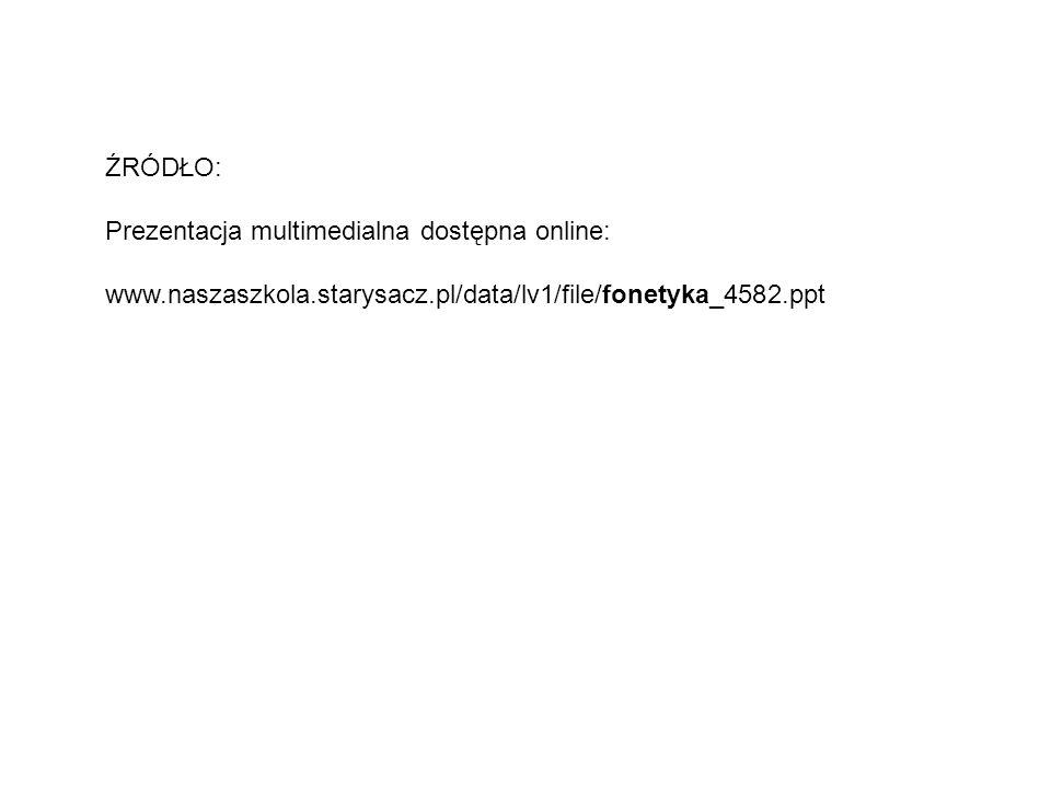 ŹRÓDŁO: Prezentacja multimedialna dostępna online: www.naszaszkola.starysacz.pl/data/lv1/file/fonetyka_4582.ppt