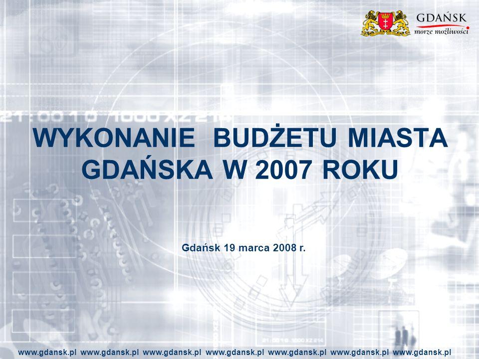 WYKONANIE BUDŻETU MIASTA GDAŃSKA W 2007 ROKU www.gdansk.pl www.gdansk.pl www.gdansk.pl www.gdansk.pl www.gdansk.pl www.gdansk.pl www.gdansk.pl Gdańsk 19 marca 2008 r.