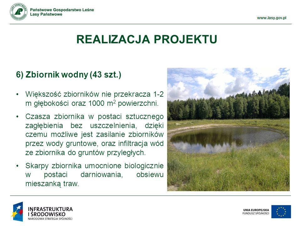 www.ckps.lasy.gov.pl 6) Zbiornik wodny (43 szt.) Większość zbiorników nie przekracza 1-2 m głębokości oraz 1000 m 2 powierzchni.