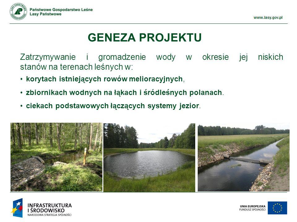www.ckps.lasy.gov.pl GENEZA PROJEKTU zwiększenie zasobów wodnych przywrócenie właściwych stosunków wodnych na terenach leśnych, zdegradowanych w wyniku wykonanych w przeszłości prac melioracyjnych i drenażowych, a także przeciwdziałanie powodziom i suszom w skali lokalnej.