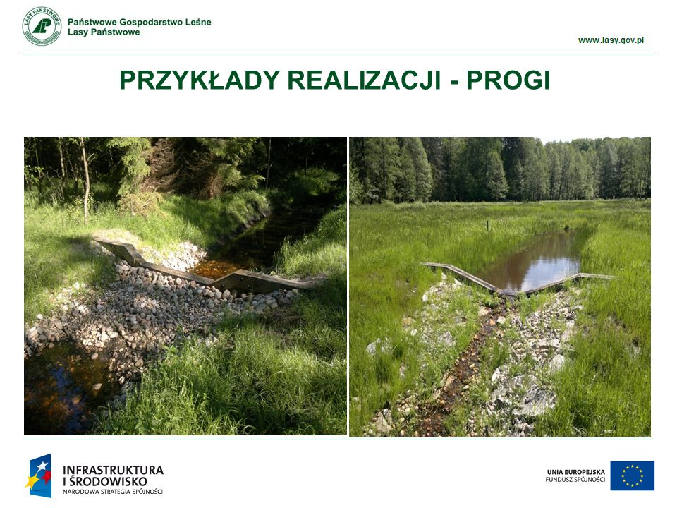 www.ckps.lasy.gov.pl EFEKTY REALIZACJI PROJEKTU przywrócenie właściwych stosunków wodnych na terenach zdegradowanych przez prace melioracyjne i drenarskie, odtworzenie procesów torfotwórczych, rozwój kompleksów wodno-błotnych i wzrost bioróżnorodności, poprawa warunków siedliskowych i bytowania zwierząt wodnych, zahamowanie odpływu wody zwiększenie walorów przyrodniczych i krajobrazowych nadleśnictwa.