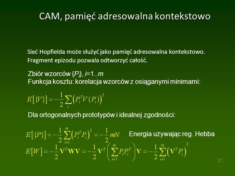 21 CAM, pamięć adresowalna kontekstowo Sieć Hopfielda może służyć jako pamięć adresowalna kontekstowo.