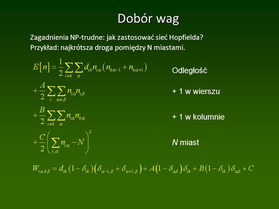 Dobór wag Zagadnienia NP-trudne: jak zastosować sieć Hopfielda.